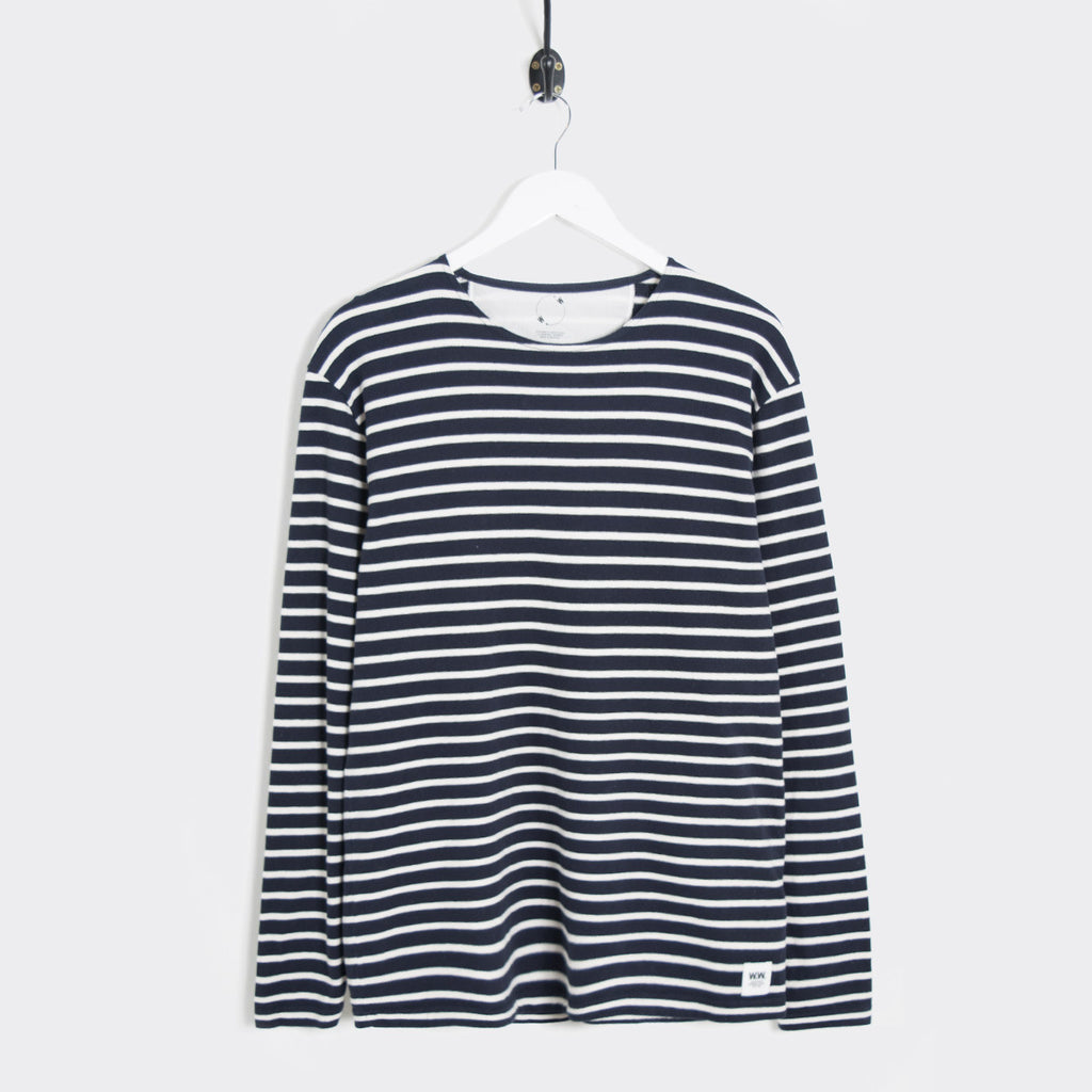 Wood Wood Harrison Longsleeve - Dress Blues/Pristine