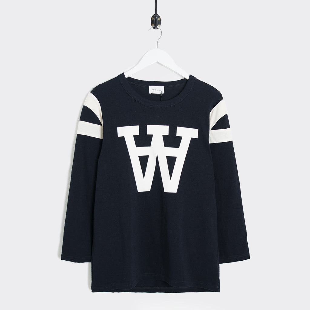 Wood Wood William AA Logo Longsleeve - Navy