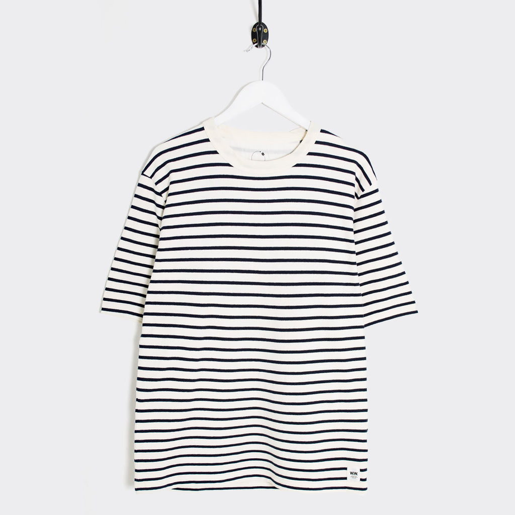 Wood Wood Herman Breton Stripe T-Shirt - Pristine/Dress Blue