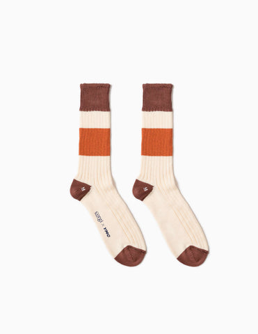 YMC Stripe Sport Socks - Orange