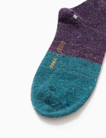 YMC Donegal Cashwool Socks - Blue/Purple