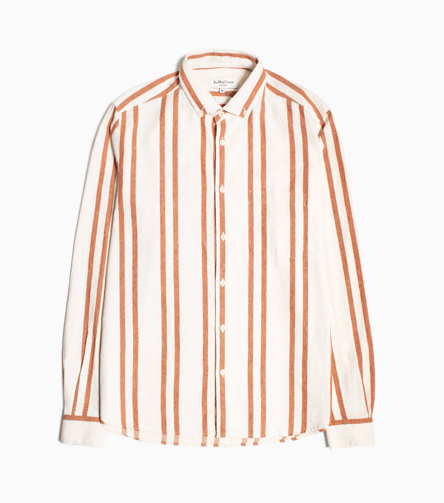 YMC Dean BD Stripe Shirt - Orange