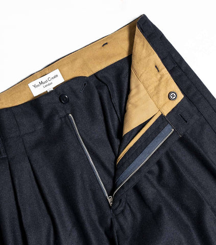 YMC Creole Peg Wool Trouser - Navy Trousers - CARTOCON