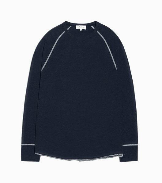 YMC Verlaine Long Sleeved T-Shirt - Navy Long Sleeve T-Shirt - CARTOCON