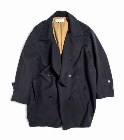 YMC Double Breasted Oversized Coat - Navy Jacket - CARTOCON