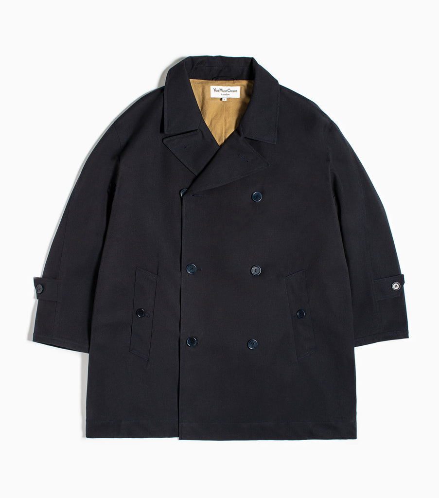 YMC Double Breasted Oversized Coat - Navy