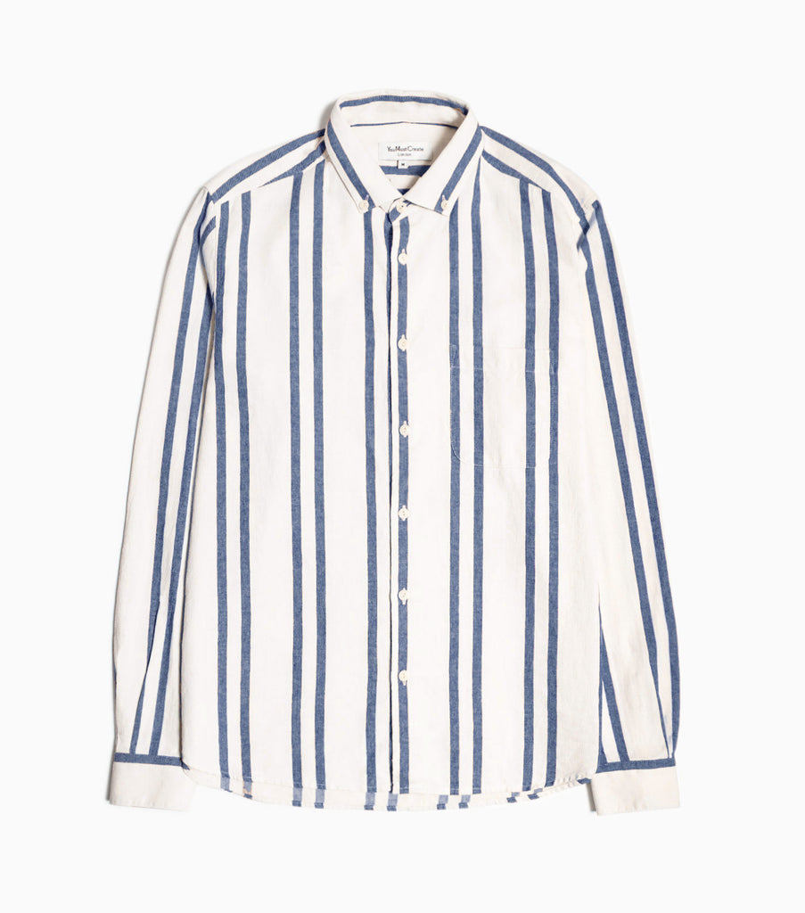 YMC Dean BD Stripe Shirt - Blue