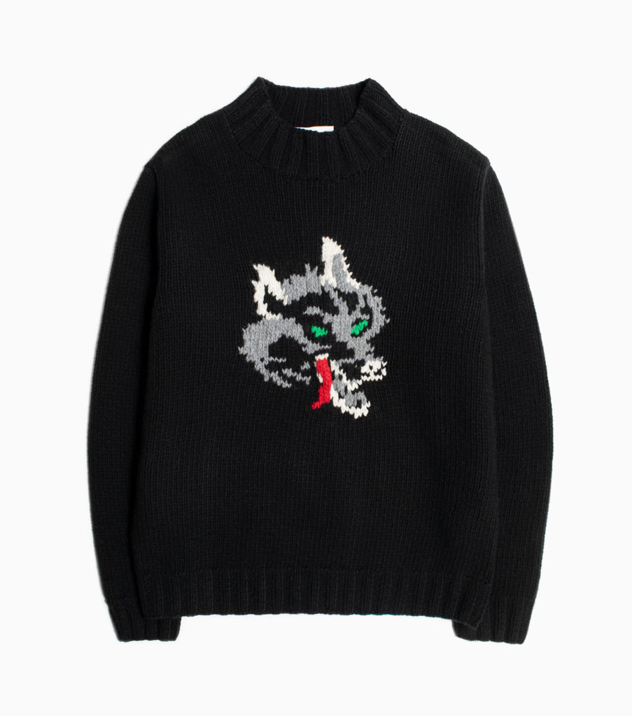 YMC Wolf 100% Lambswool Turtleneck - Black