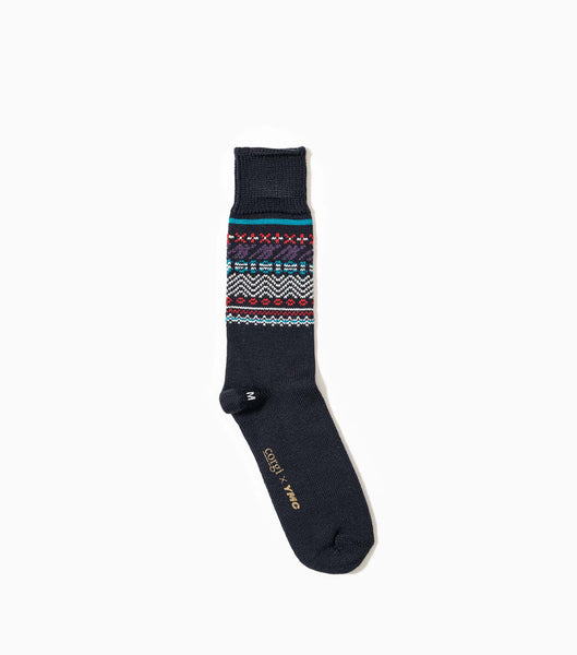 YMC Fairisle Socks - Navy Socks - CARTOCON