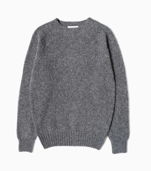 YMC Suedehead Crew Knitted Jumper - Charcoal Knitwear - CARTOCON
