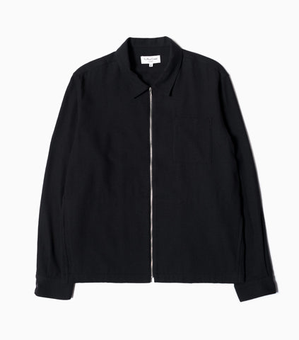YMC Bowie Wool Zip-Up Overshirt - Black Jacket - CARTOCON