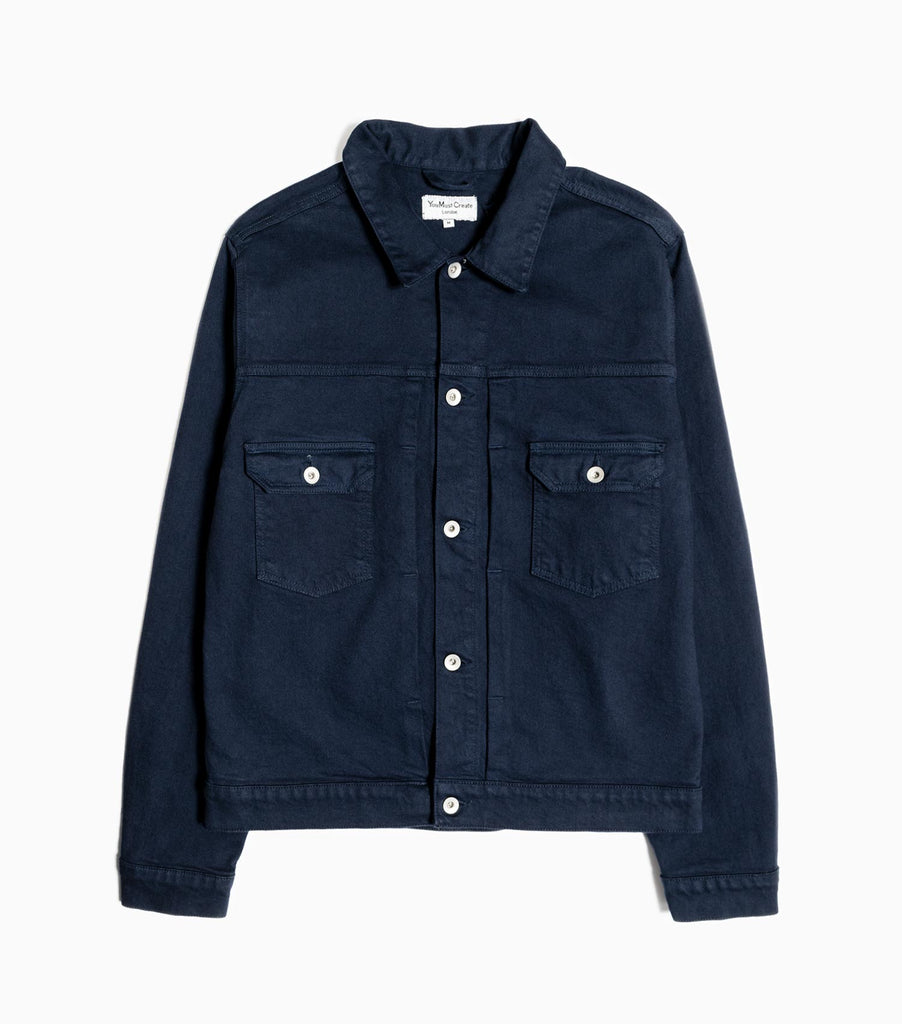 YMC MK2 Irregular Twill Trucker Jacket - Navy