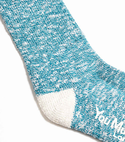YMC Melange Slub Cotton Boot Socks - Turquoise Socks - CARTOCON