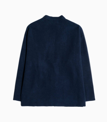 YMC Ceredigion Dense Cotton Knit Cardigan - Navy/Brown Knitwear - CARTOCON