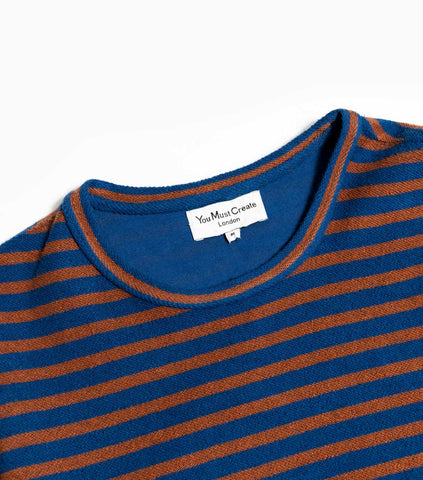 YMC Reverse Stripe Loopback X Sweat - Navy/Brown Sweatshirt - CARTOCON