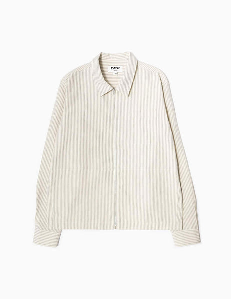YMC Bowie Zip Overshirt - Ecru Stripe Jacket - CARTOCON