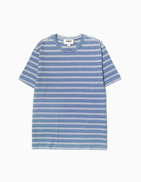 YMC Wild Ones Stripe T-Shirt - Blue/Ecru T-Shirt - CARTOCON