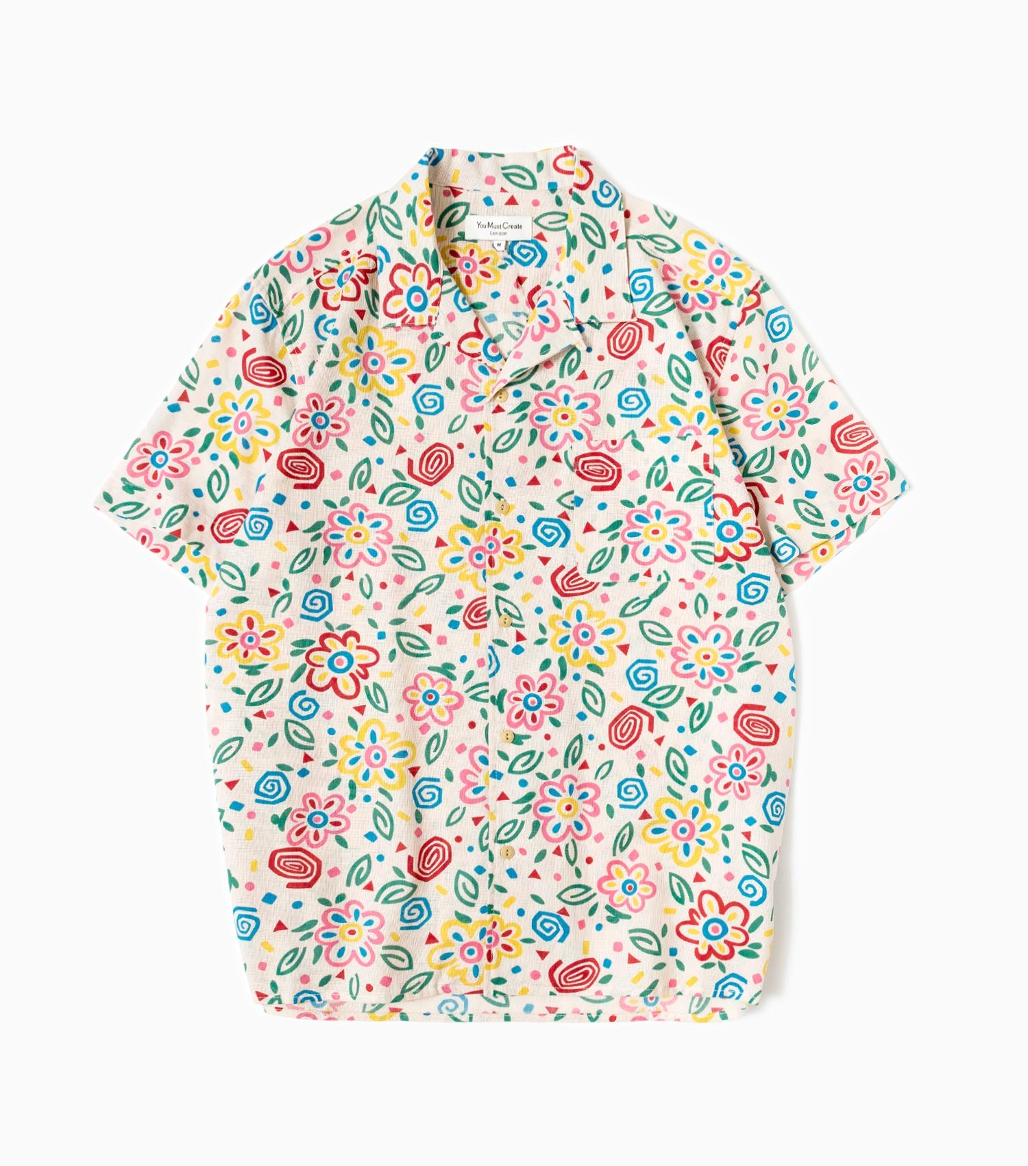 YMC Floral Cotton Dobby Short Sleeved Shirt - Multi