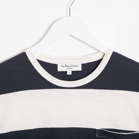 YMC Baja Wide Stripe Slub T-Shirt - Navy  - CARTOCON