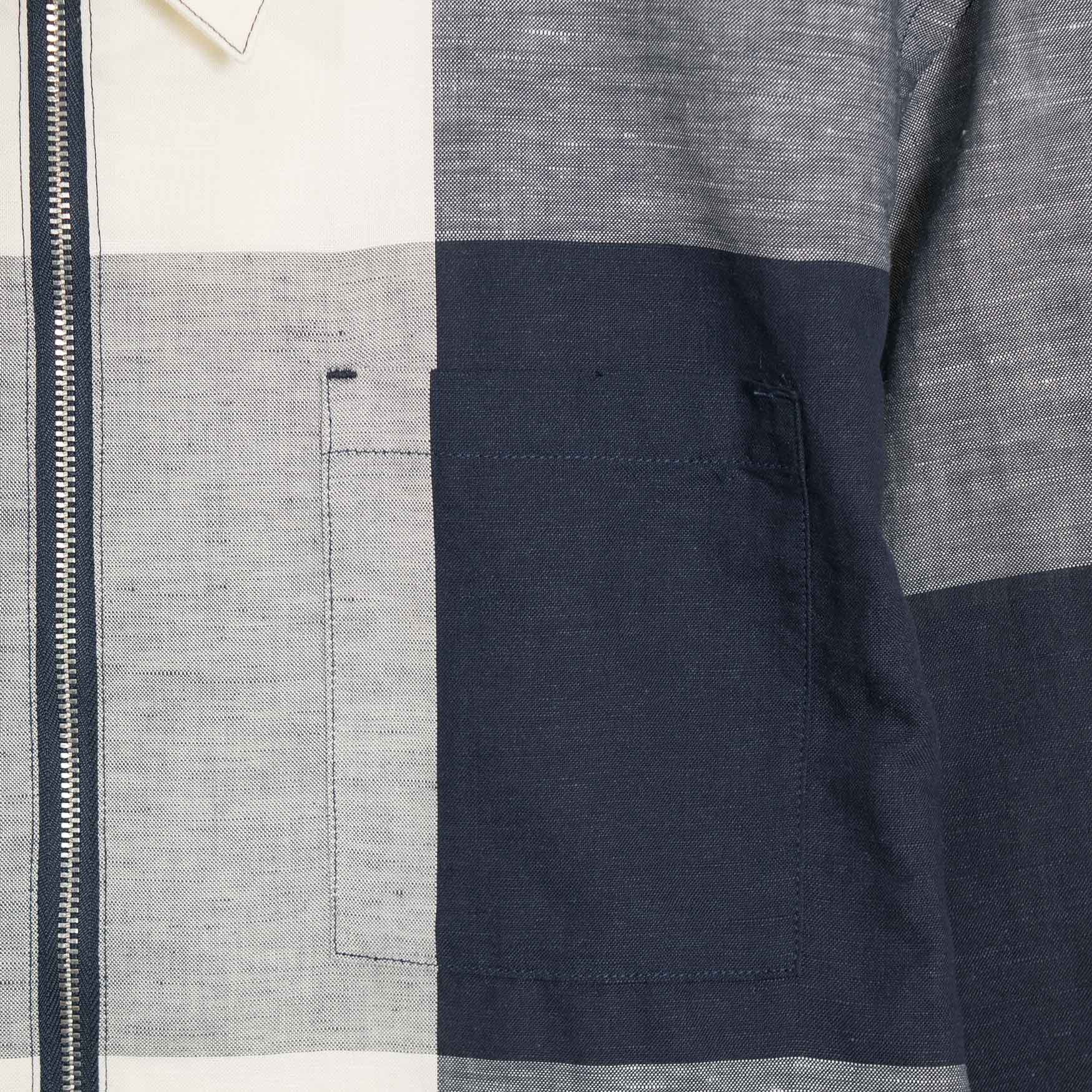 YMC Bowie Check Linen Zip Shirt - Ecru/Navy  - CARTOCON
