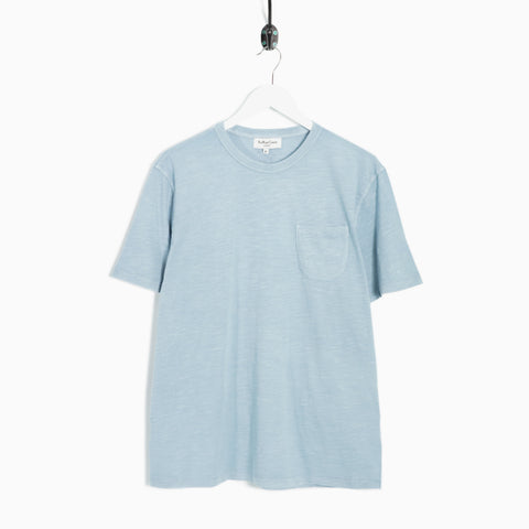 YMC Wild Ones Pigment Dyed Slub Pocket T-Shirt - Sky Blue  - CARTOCON
