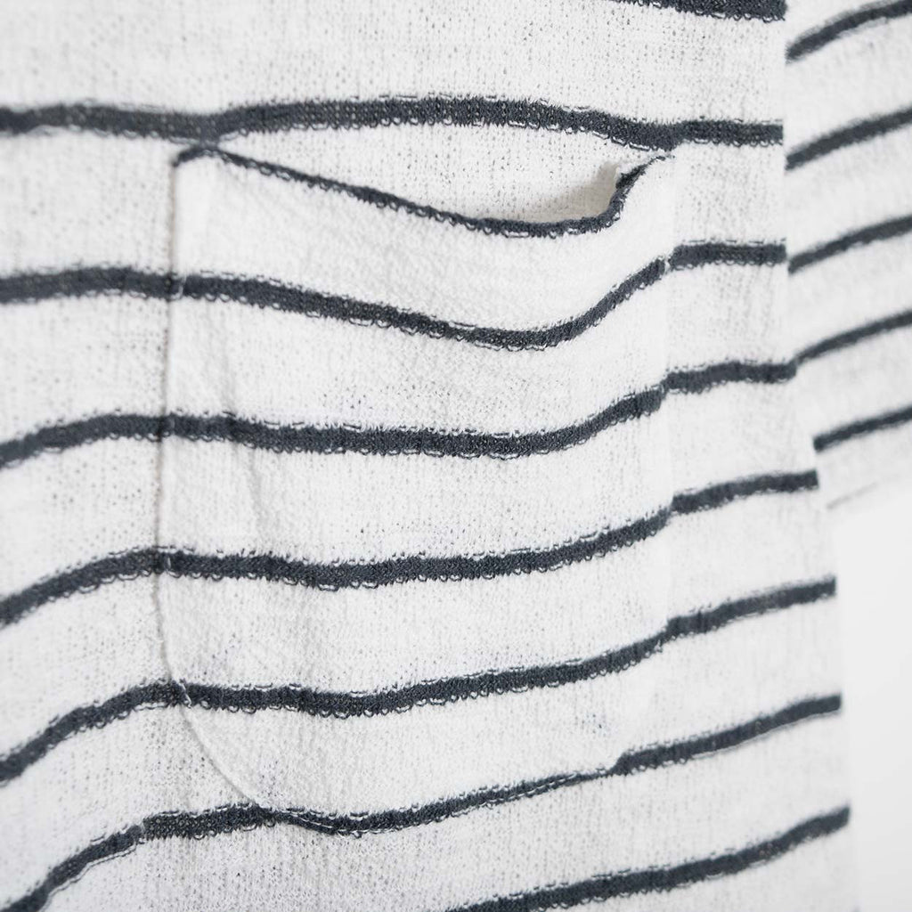 YMC Bad Brains Crepe Stripe T-Shirt - Ecru/Navy - 3