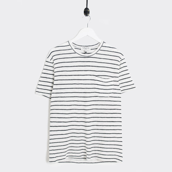 YMC Bad Brains Crepe Stripe T-Shirt - Ecru/Navy - 1