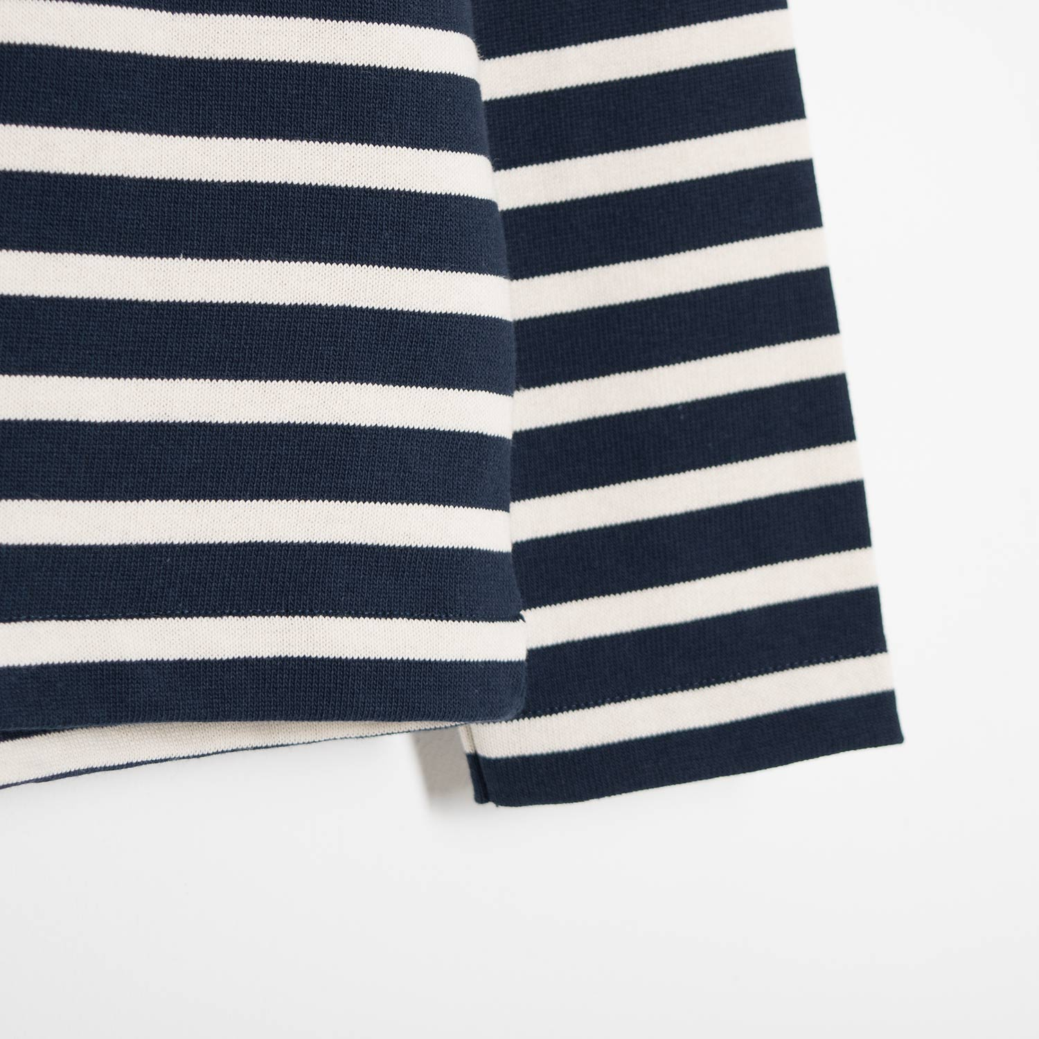 YMC Chino Breton Stripe Turtle Neck - Navy/Ecru