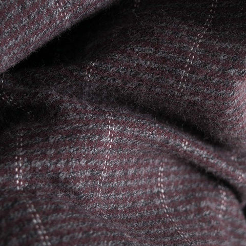 YMC Curtis Shirt - Burgundy Pinstripe  - CARTOCON