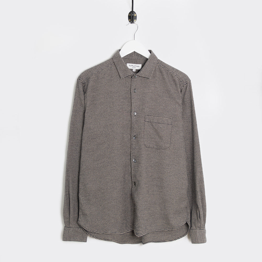 YMC Curtis Shirt - Navy - Dogtooth Flannel - 1