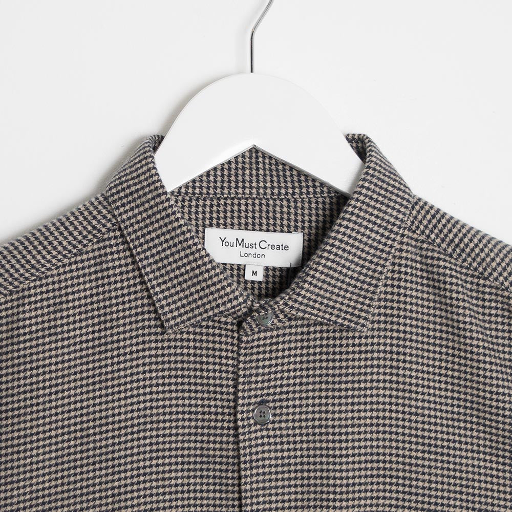 YMC Curtis Shirt - Navy - Dogtooth Flannel - 2