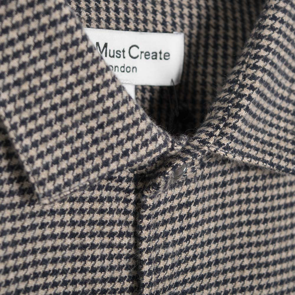 YMC Curtis Shirt - Navy - Dogtooth Flannel - 3