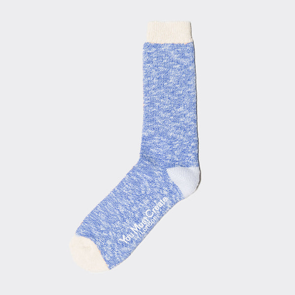 YMC Slub Boot Socks - Blue/Ecru Socks - CARTOCON