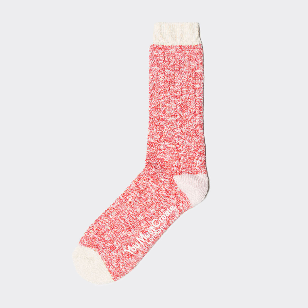 YMC Slub Boot Socks - Red/Ecru