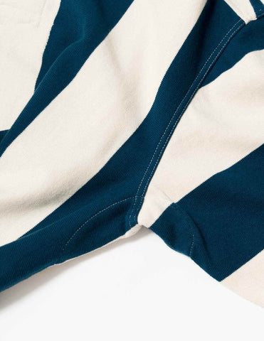 YMC JJ Rugby Shirt - Ecru/Blue Sweatshirt - CARTOCON