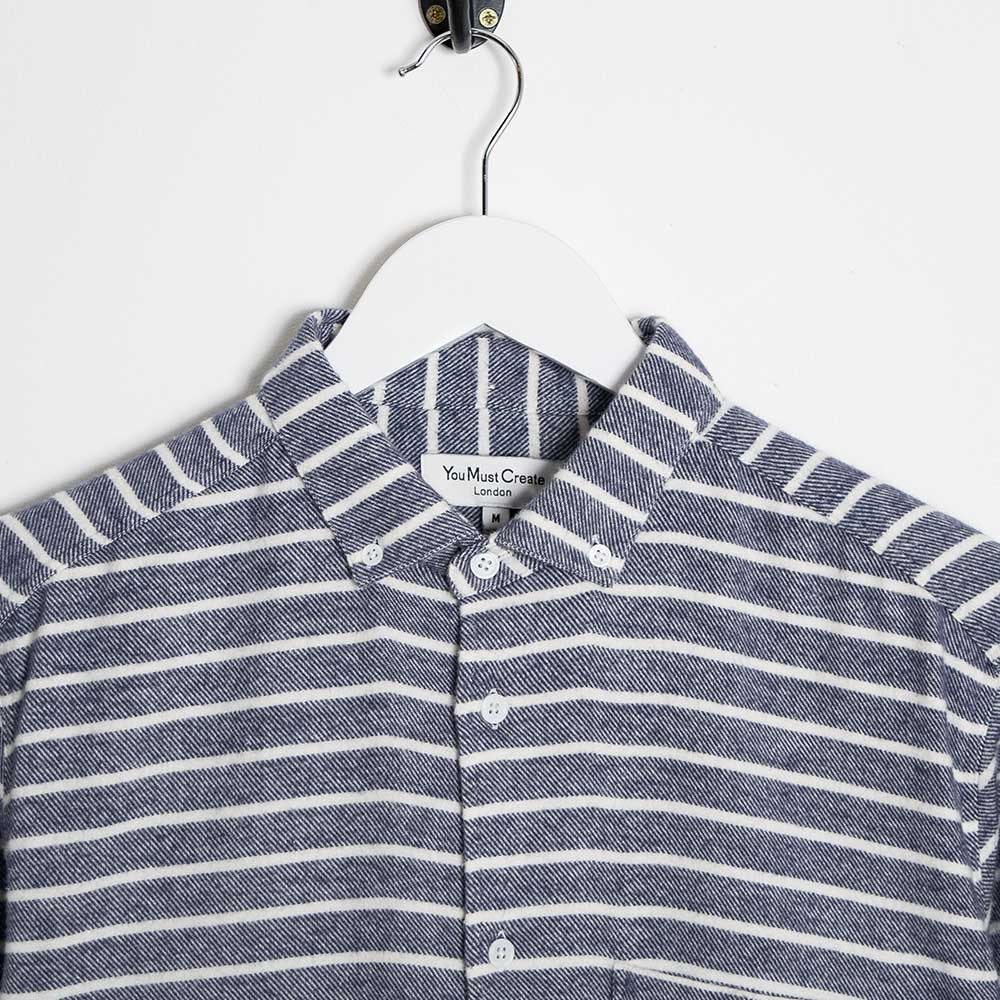YMC Jan & Dean Flannel Stripe Shirt - Navy - 2