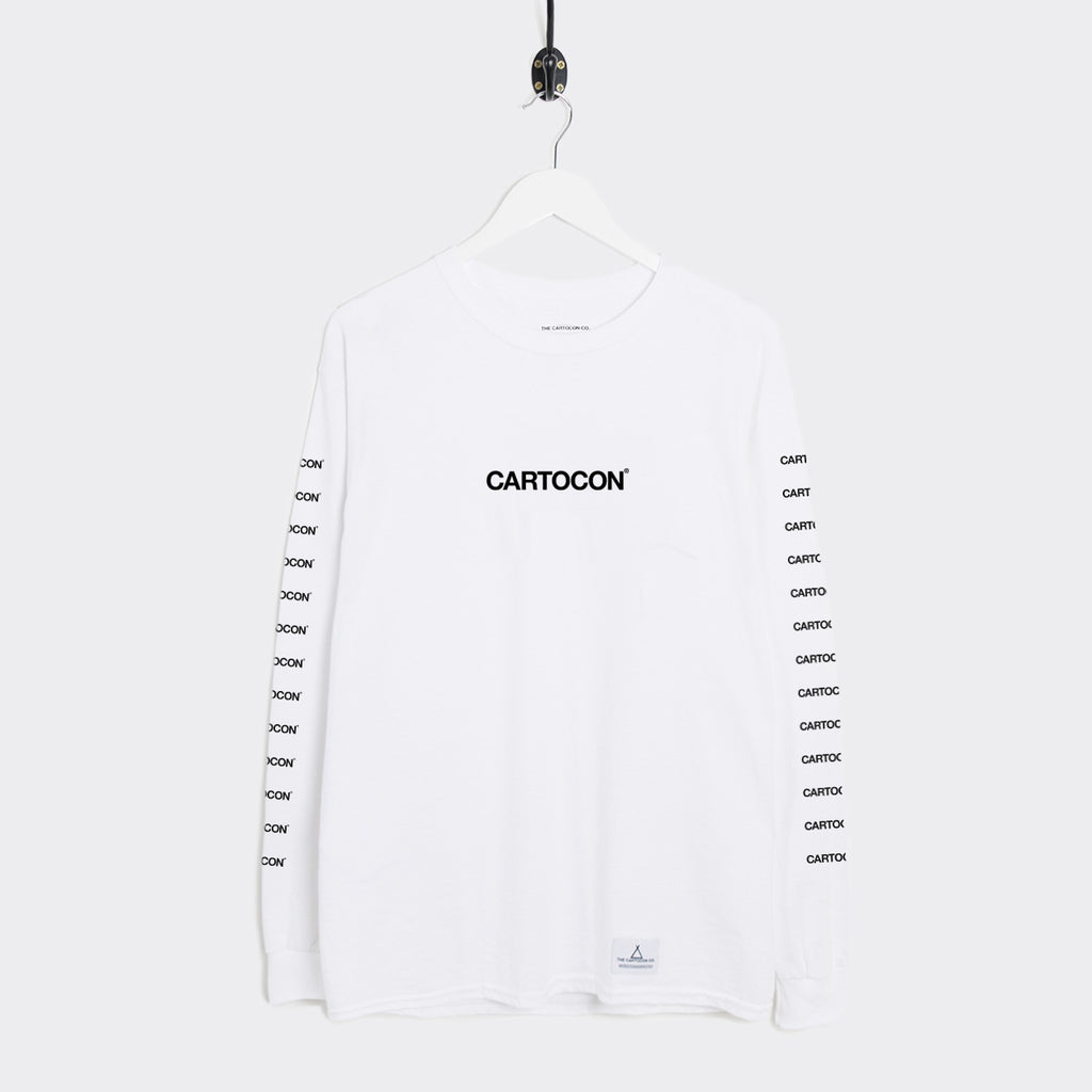 Cartocon Multi Print Long Sleeve T-Shirt - White