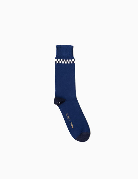 YMC Checker Stripe  Sock - Blue Socks - CARTOCON
