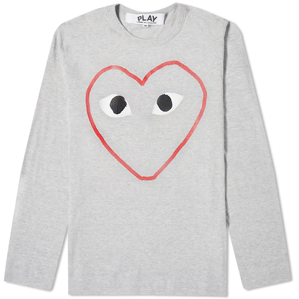 Comme des Garçons PLAY Red Outline Heart Long Sleeve T-Shirt - Grey T-Shirt - CARTOCON