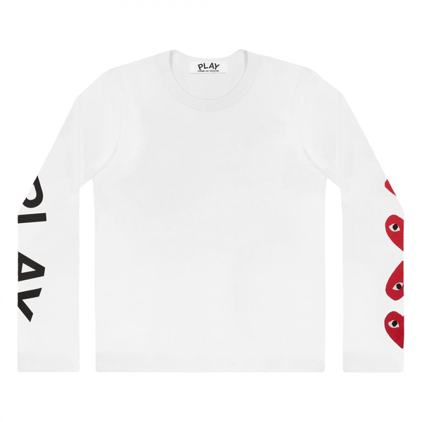 Comme des Garçons PLAY 4 Heart Sleeve L/S T-Shirt - White Long Sleeve T-Shirt - CARTOCON