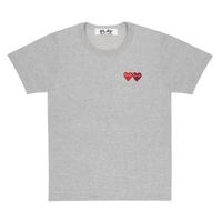 Comme des Garçons PLAY Double Heart T-Shirt - Grey T-Shirt - CARTOCON