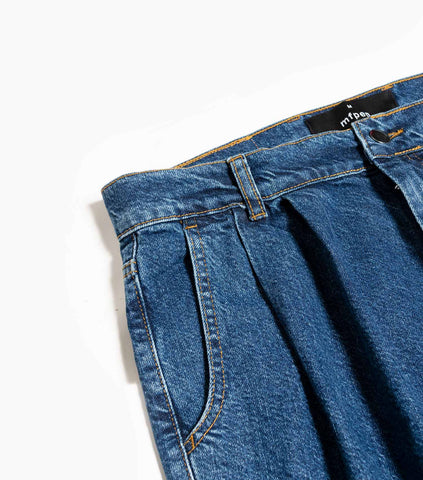 mfpen Double Pleated Big Jeans - Washed Blue Trousers - CARTOCON