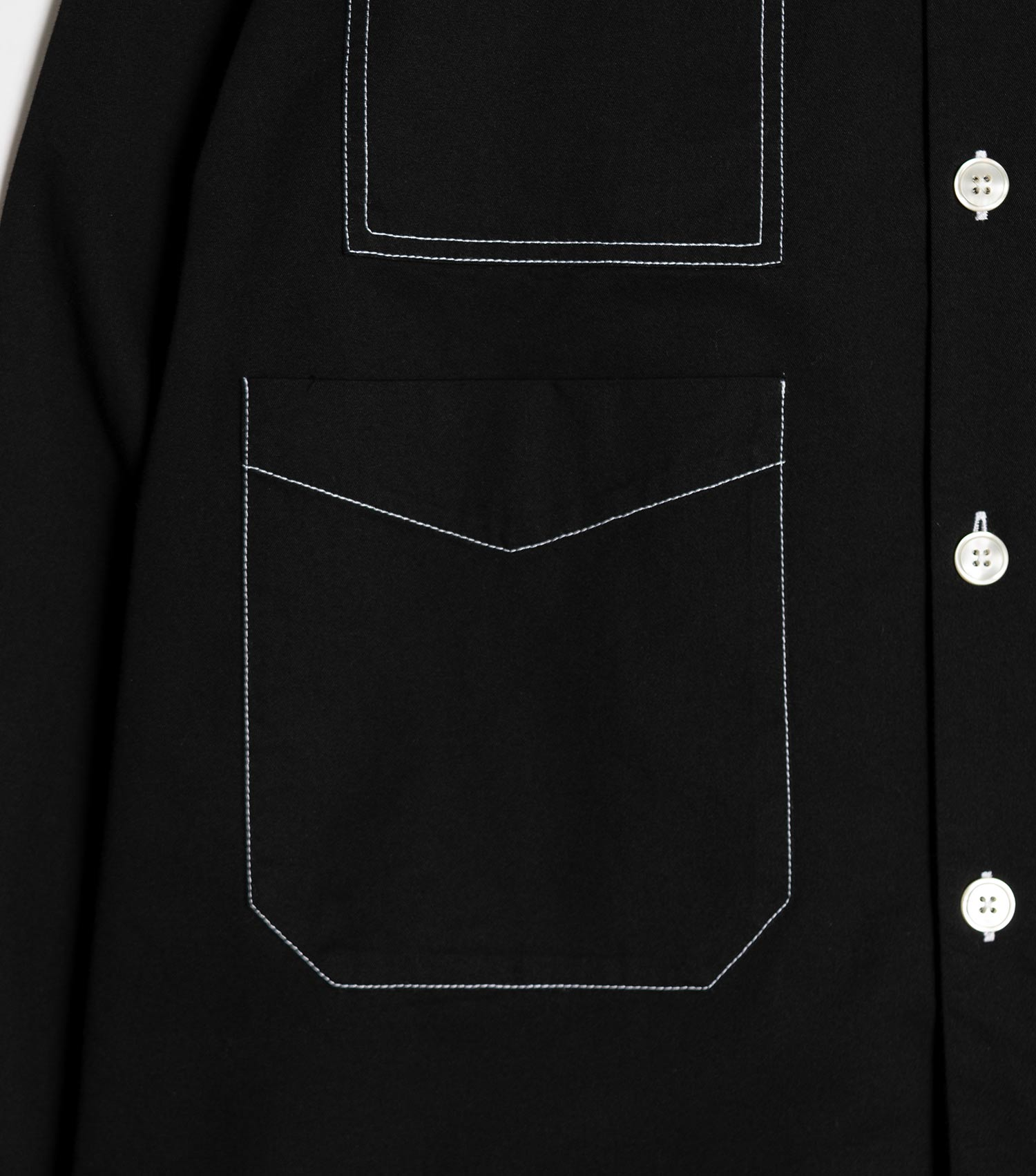 mfpen Contrast Stitch Work Shirt - Black