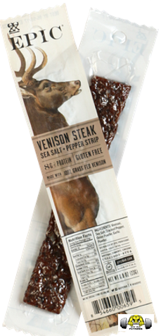 Venison Sea Salt Pepper Snack Strips by Epic Bar