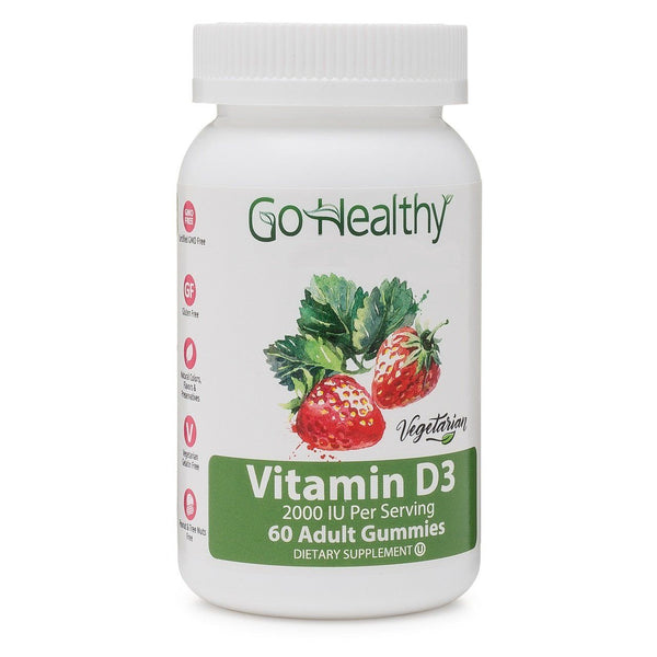 Vitamin D3 Gummy Adult, Vegetarian Fruit-Based, 2000 IU Per Serving 60 ct-30 Servings Gluten Free, Non-GMO, Halal, Kosher