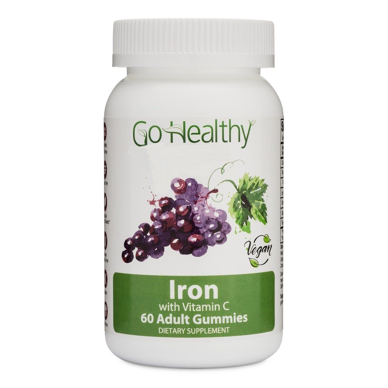 Iron Gummies with Vitamin C for Women and Men, Vegan Fruit-Based 60 ct 30 Servings-Gluten Free, Non-GMO, Halal, Kosher