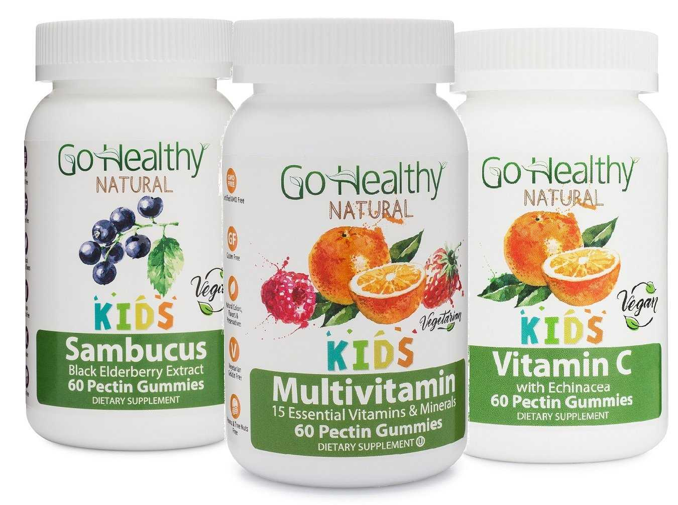 Kids Immune Gummy 3 Bottle Pack: 1 Multivitamin, 1 Sambucus, 1 Vitamin C with Echinacea