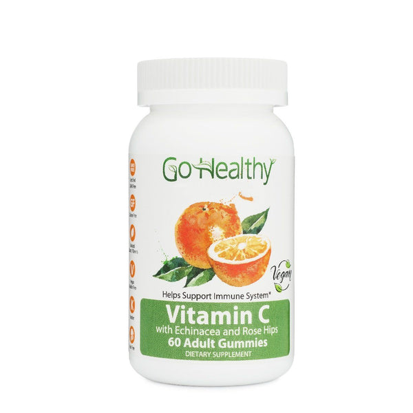 Vitamin C Gummies, Echinacea & Rose Hips, Vegan, Women Men 240mg 60 ct- 30 Servings Non-GMO, Halal, Kosher