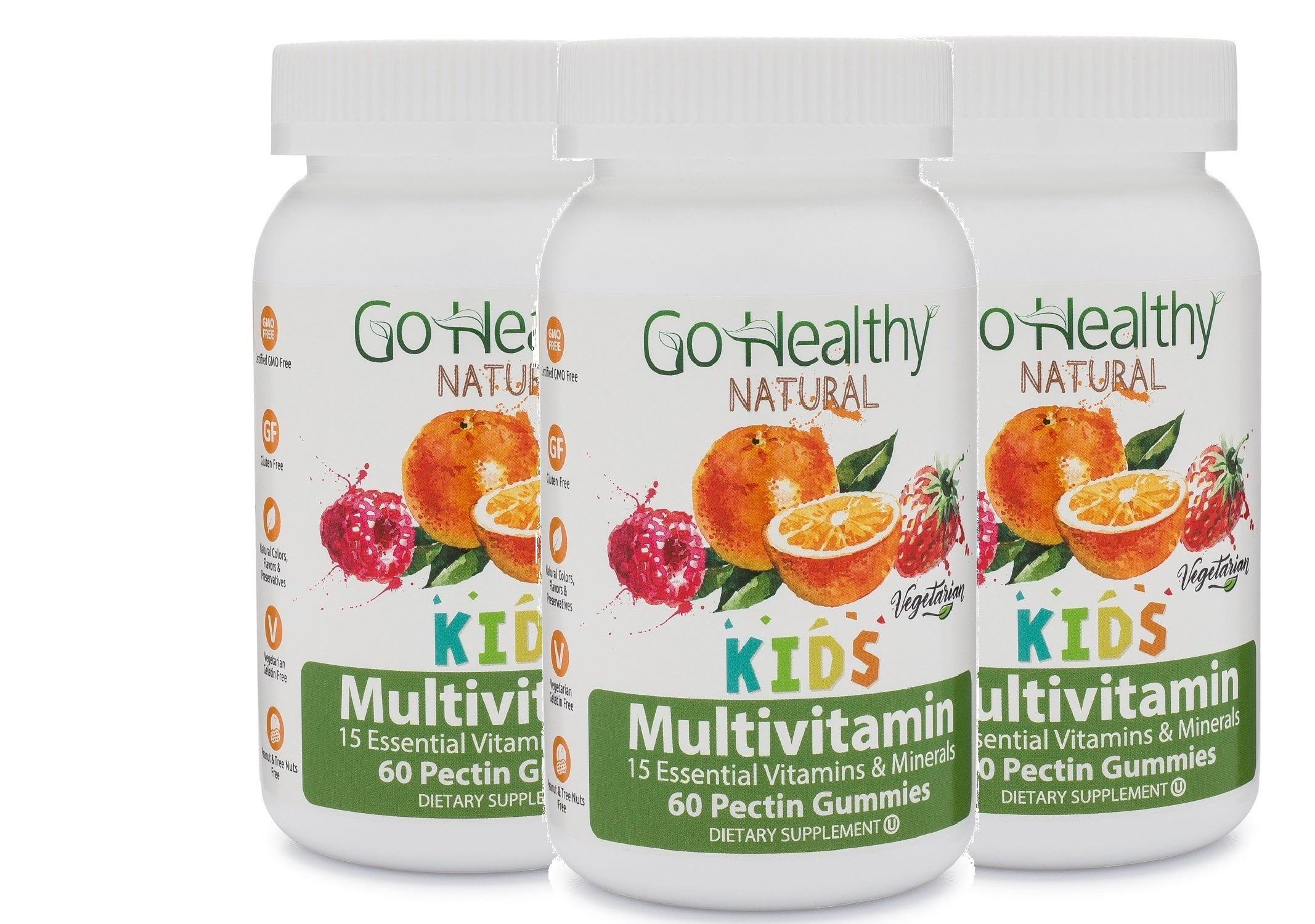 Multivitamin Gummy for Kids- 3 Pack: Fruit-Based, Vegetarian-15 Essential Vitamins (60)- 30 Daily Servings