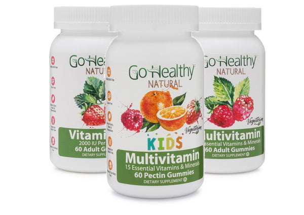 Vitamin Gummies-  Assorted 3 Pack: Adult Multivitamin+ Kids Multivitamin+ Adult Vitamin D3